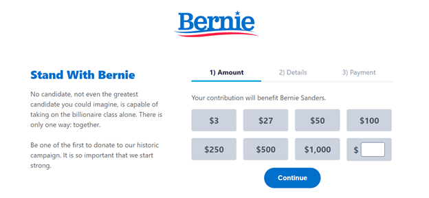 """Bernie Sanders website. A page that says"""" stand for Bernie"""" with donation tiers"""