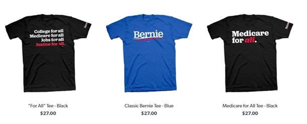 Three Bernie Sanders merchandise t-shirts